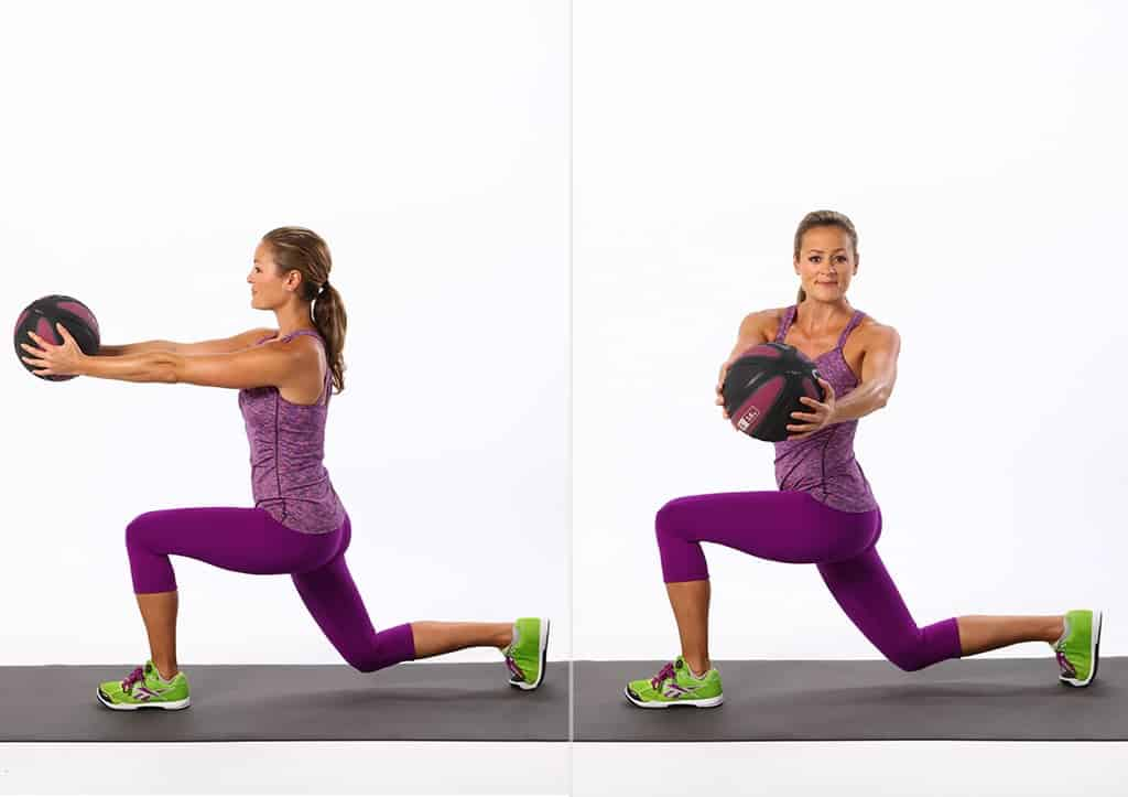Lady in purple pants doing a lunge